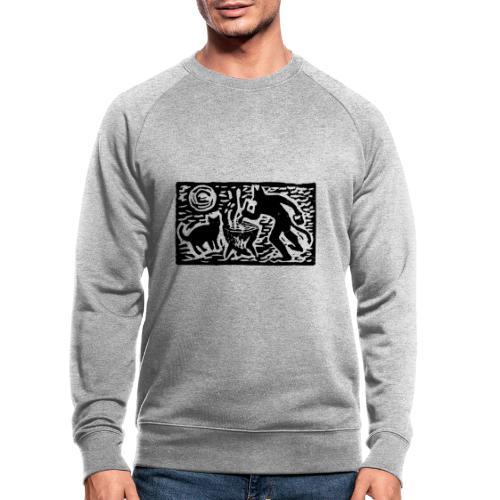 Teufel mit Katze - Männer Bio-Sweatshirt