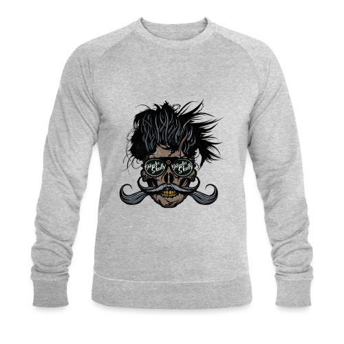 hipster skull tete de mort crane barbu moustache - Sweat-shirt bio