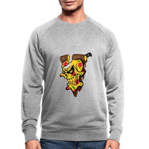 Pizza Schädel mit Messer - Männer Bio-Sweatshirt