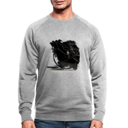 bird in zen circle above water bird on branch Zen - Men's Organic Sweatshirt