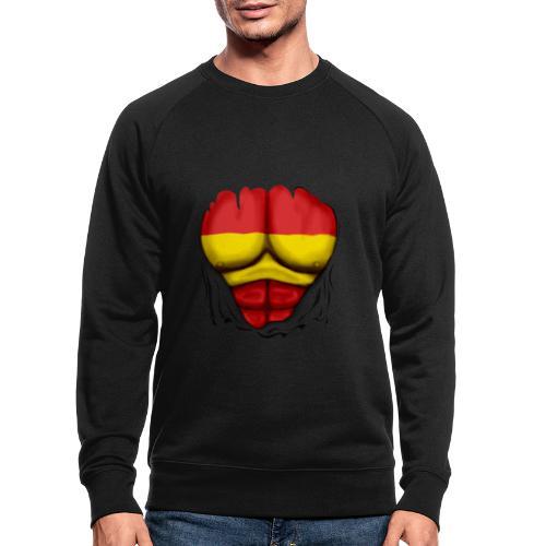 España Flag Ripped Muscles six pack chest t-shirt - Men's Organic Sweatshirt by Stanley & Stella
