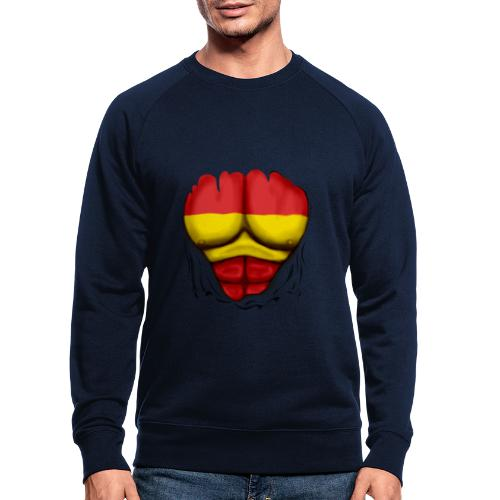 España Flag Ripped Muscles six pack chest t-shirt - Men's Organic Sweatshirt by Stanley & Stella