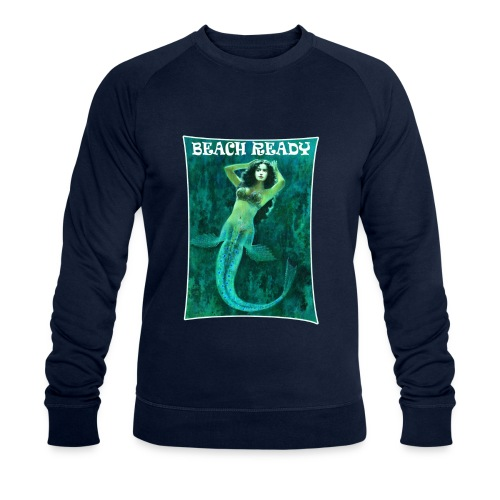 Vintage Pin-up Beach Ready Mermaid - Men's Organic Sweatshirt by Stanley & Stella