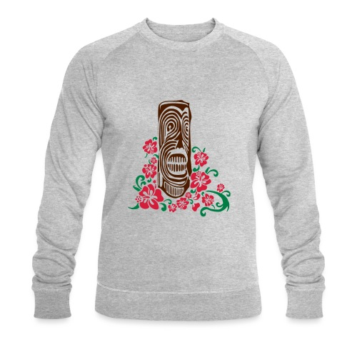 Tiki Totem with Hibiscus Flowers - Men's Organic Sweatshirt by Stanley & Stella