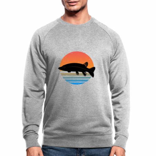 Retro Hecht Angeln Fisch Wurm Angler Raubfisch - Männer Bio-Sweatshirt