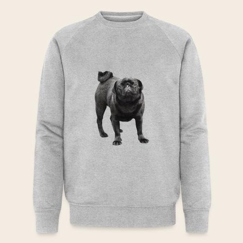 schwarzer Mops - Männer Bio-Sweatshirt