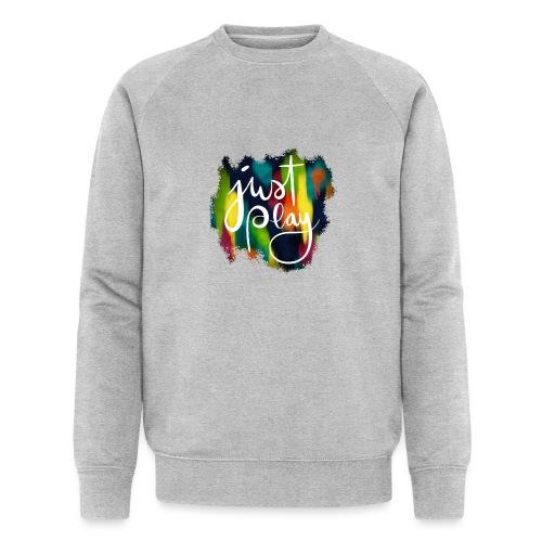 Just Play Lettering auf Farbklecksen - Männer Bio-Sweatshirt von Stanley & Stella