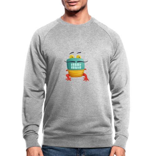 Französisches Froschmonster mit Schnurrbart - Männer Bio-Sweatshirt