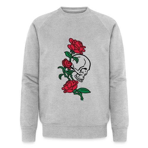 teschio e rose es123_2 - Felpa ecologica da uomo