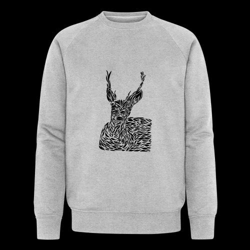 deer black and white - Miesten luomucollegepaita