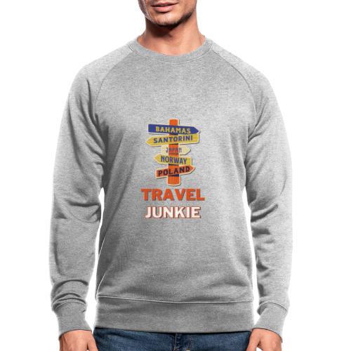 traveljunkie - i like to travel - Männer Bio-Sweatshirt