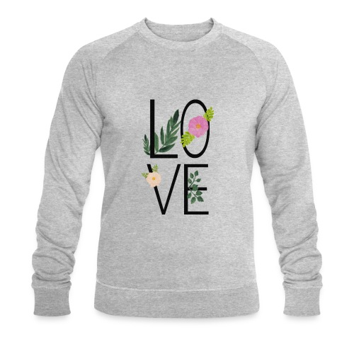 Love Sign with flowers - Men's Organic Sweatshirt by Stanley & Stella