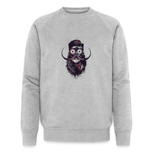 hipster tete de mort crane barbu skull moustache b - Sweat-shirt bio