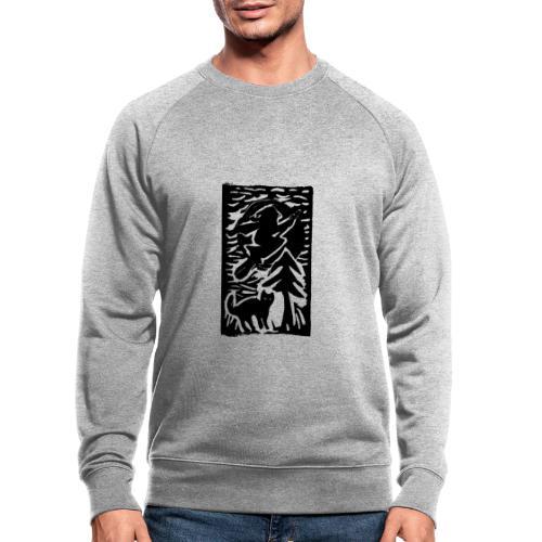 Hexe mit Katze - Männer Bio-Sweatshirt