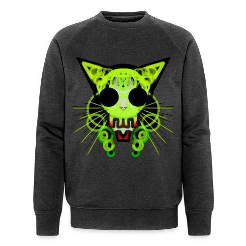 cat skeleton skull light green in deep black - Men's Organic Sweatshirt by Stanley & Stella