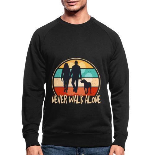 Hundehalter mit Hund Never Walk Alone - Männer Bio-Sweatshirt