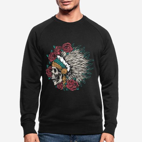 indian skull roses - Männer Bio-Sweatshirt