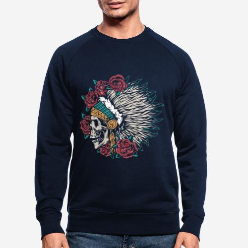 indian skull roses - Männer Bio-Sweatshirt