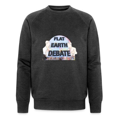 Flat Earth Debate Cartoon - Men's Organic Sweatshirt by Stanley & Stella