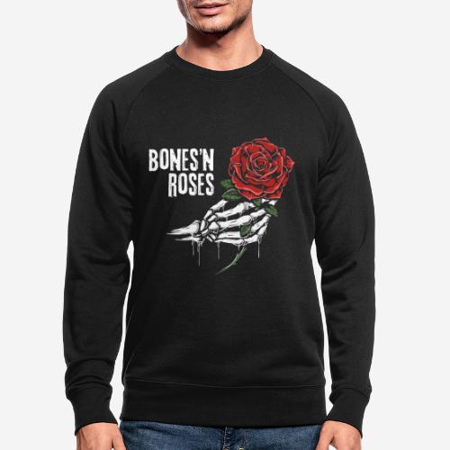 Schädelknochen Rosen - Männer Bio-Sweatshirt
