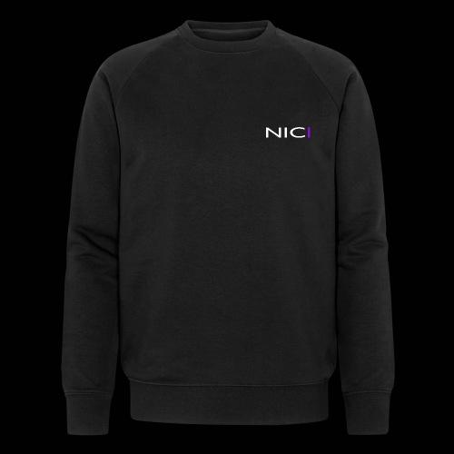 NICI logo WHITE - Stanley & Stellan miesten luomucollegepaita