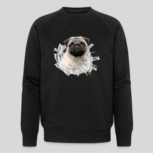Mops Beige im Glasloch - Männer Bio-Sweatshirt von Stanley & Stella