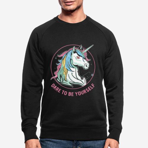 Einhorn wagen Utopie - Männer Bio-Sweatshirt