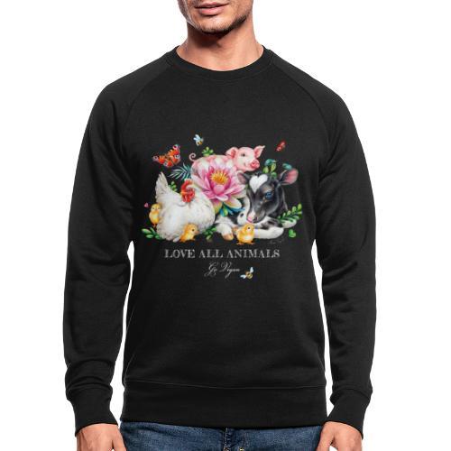 Love animals white text - Men's Organic Sweatshirt