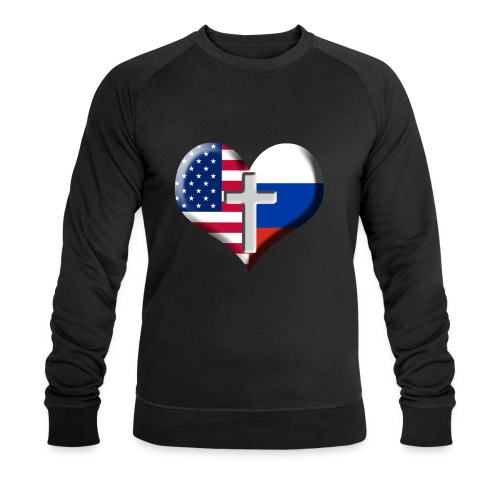 USA and Russia Heart with Cross - Men's Organic Sweatshirt by Stanley & Stella