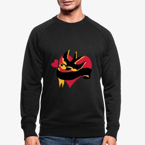 retro tattoo bird with heart - Men's Organic Sweatshirt