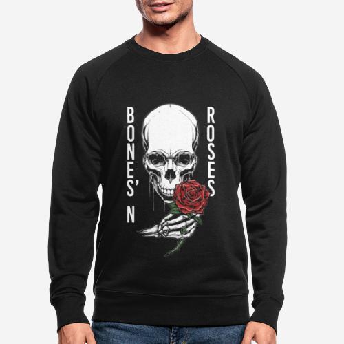 Knochen Rosen Schädel - Männer Bio-Sweatshirt