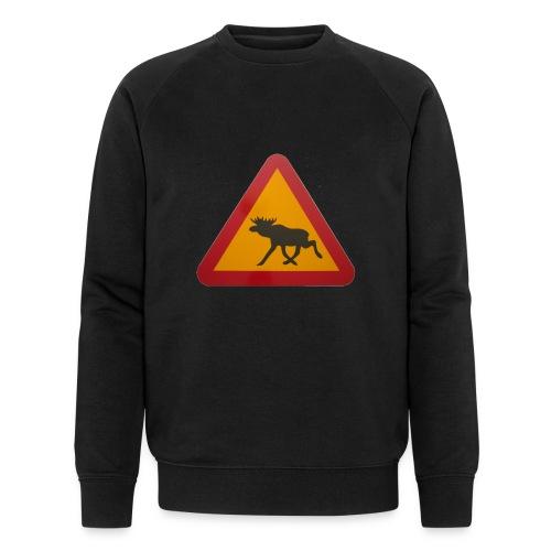 Warnschild Elch - Männer Bio-Sweatshirt