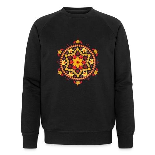 Mandalatraum in Orange aus Blätter - Männer Bio-Sweatshirt