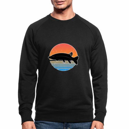 Retro Hecht Angeln Fisch Wurm Raubfisch Shirt - Männer Bio-Sweatshirt