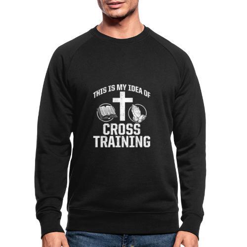 Sport mit Jesus und Bibel lesen Christen Spruch - Männer Bio-Sweatshirt
