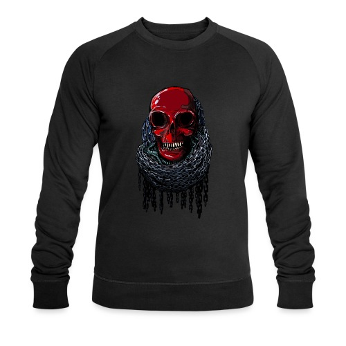 RED Skull in Chains - Men's Organic Sweatshirt by Stanley & Stella