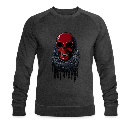 RED Skull in Chains - Men's Organic Sweatshirt by Stanley & Stella