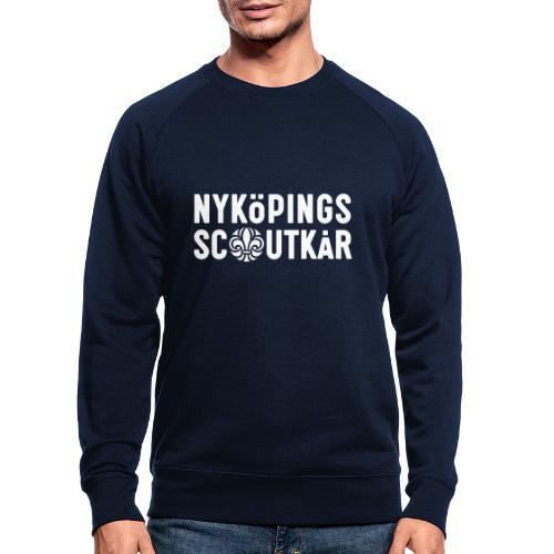 2 radig textlogotyp (vit) - Ekologisk sweatshirt herr