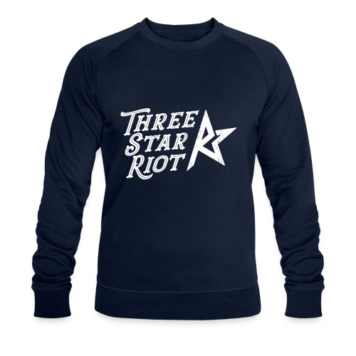 Three Star Riot logo vaalea - Miesten luomucollegepaita