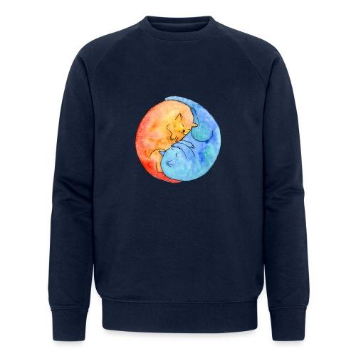 Katzenfreunde Yin Yang orange und blau - Männer Bio-Sweatshirt von Stanley & Stella