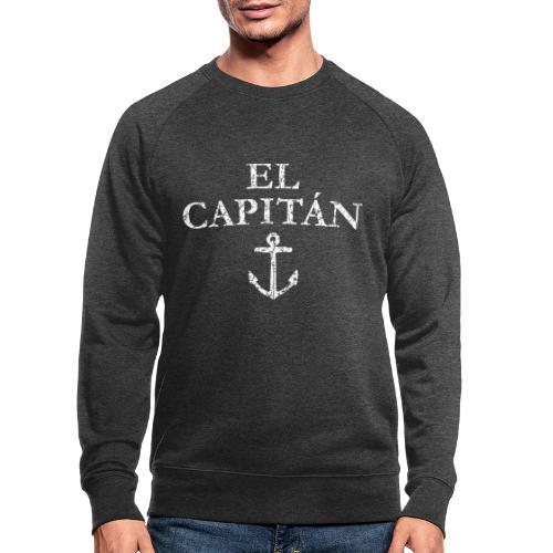 El Capitan Anker (Vintage Weiß) Käpt'n Segeln - Männer Bio-Sweatshirt