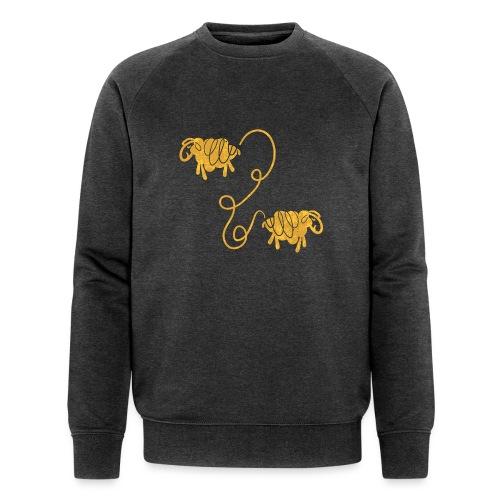 Miteinander verbundene Linoldruck Schafe in senf - Männer Bio-Sweatshirt von Stanley & Stella