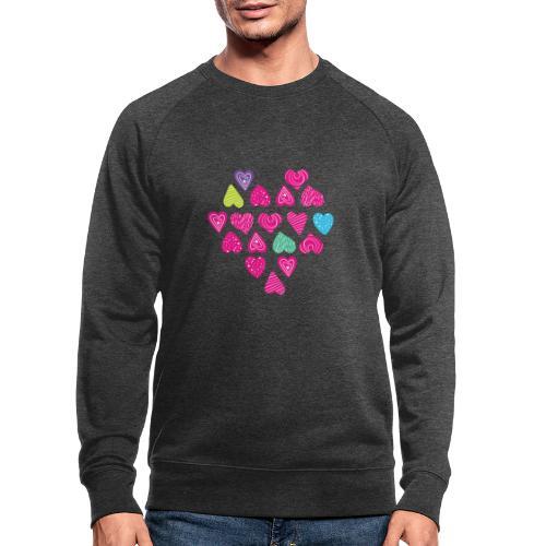 I love you Herz aus Herzen mit Doodle Textur - Männer Bio-Sweatshirt von Stanley & Stella