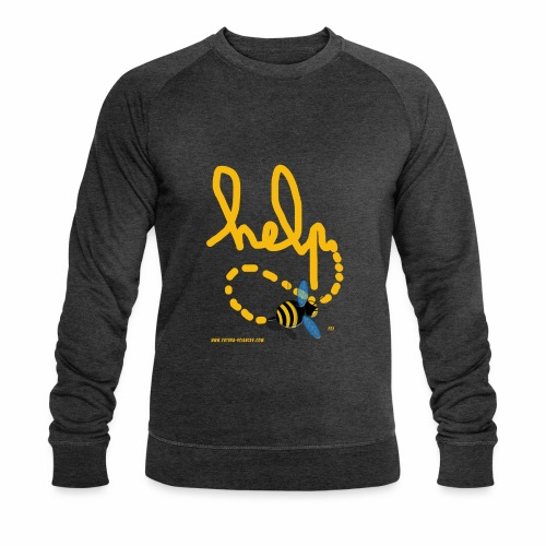 Help abeille texte jaune - Sweat-shirt bio