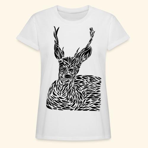deer black and white - Naisten oversized-t-paita