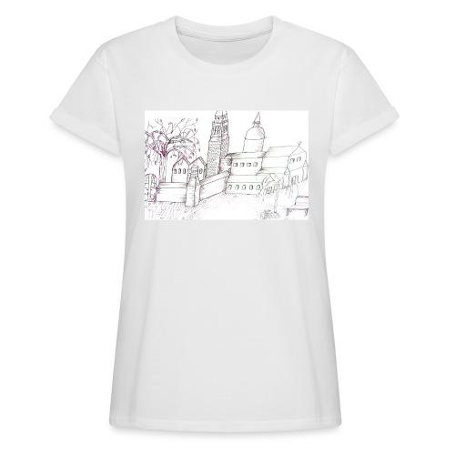 Abstrakte Kunst, Tuschezeichnung, Bild - Frauen Oversize T-Shirt