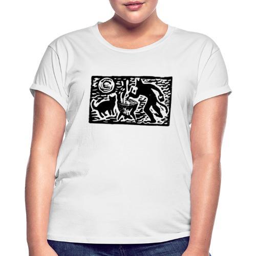 Teufel mit Katze - Frauen Oversize T-Shirt