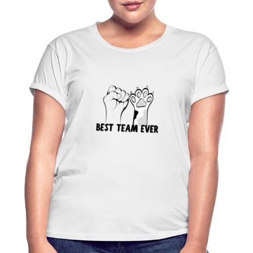 The Best Team Ever My And My Cat - Recxoo.com - Dame oversize T-shirt