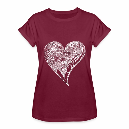 Heart white - Frauen Oversize T-Shirt