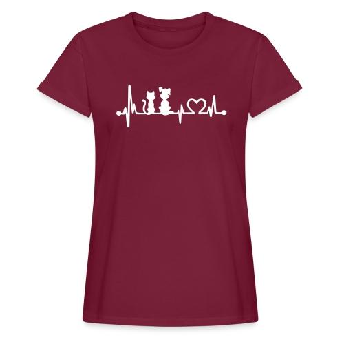 Vorschau: dog cat heartbeat - Frauen Oversize T-Shirt